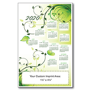 Item: Magnet-21303 - Green Floral XL Magnetic Calendar